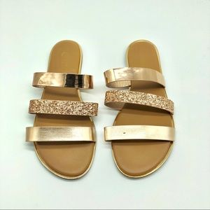 Rose Gold Three Strap Sandals